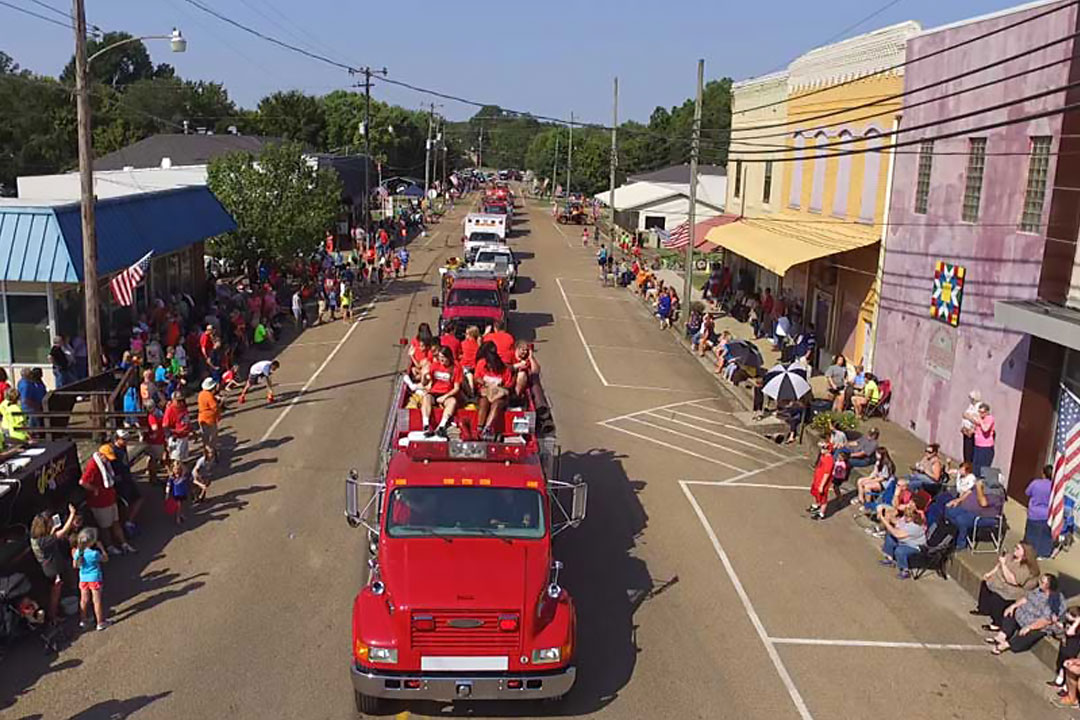 Photo of people enjoying a small town parade