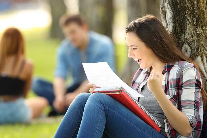 Photo of happy female student