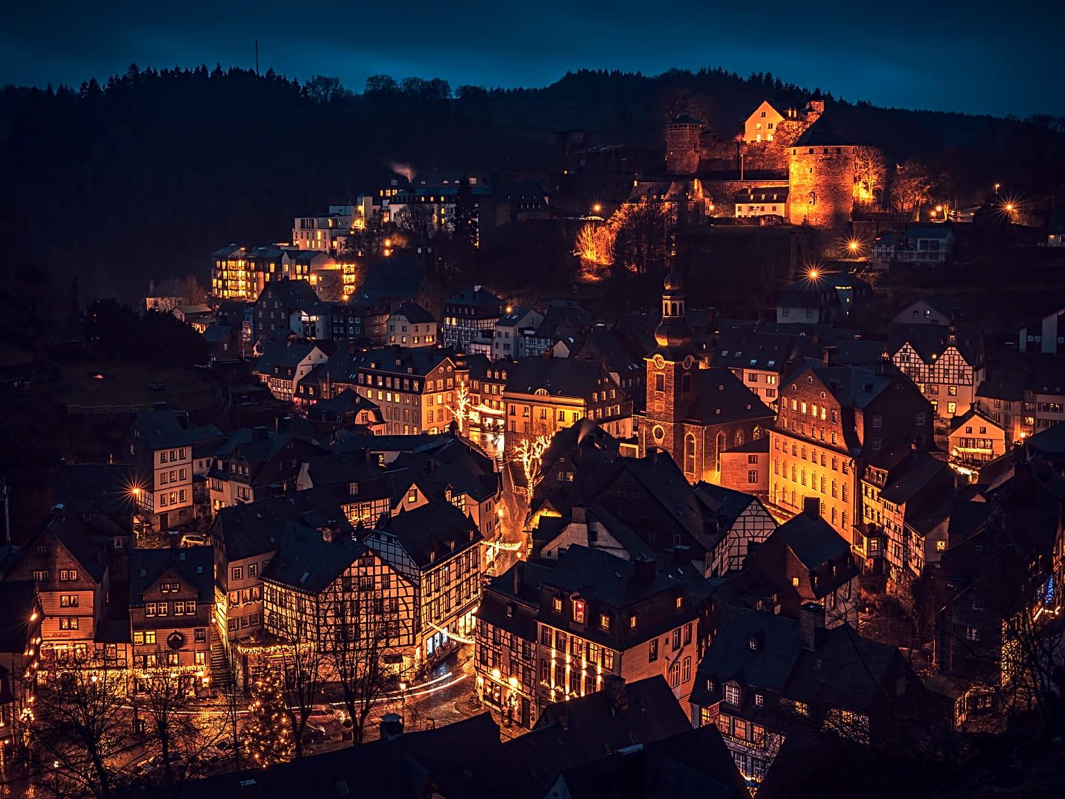 Monschau lit up at night