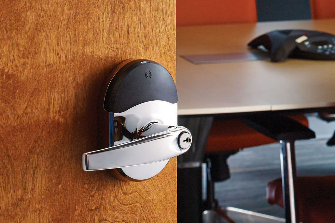Photo of integrated lock on conference room door