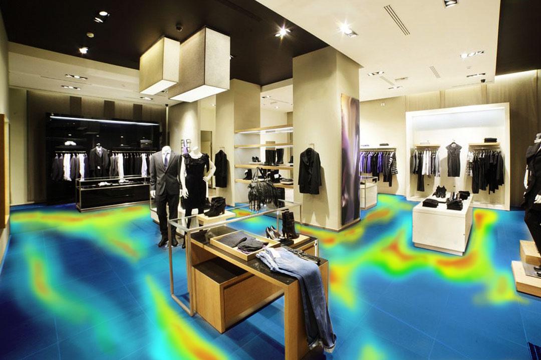 Photo of retail store's customer heat map