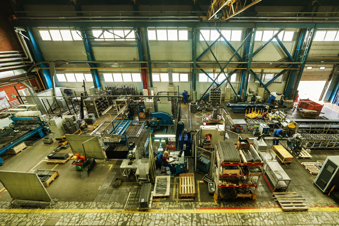 Photo of wide angle view of industrial warehouse